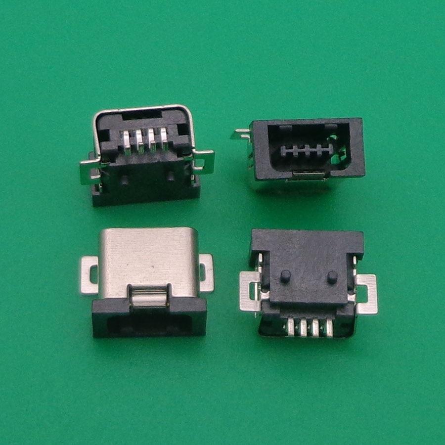 Micro usb jack 4 p 4 pinos conector mini usb tomada de carregamento porta de soquete para o telefone móvel tablet pc 100 pçs/lote