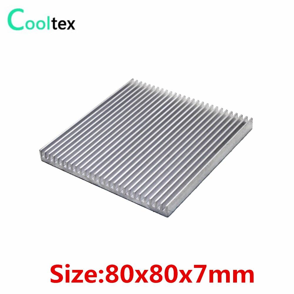 20 unids/lote 80x80x7mm disipador de calor de aluminio disipador de calor radiador para enfriador de disipación de calor electrónico de chip