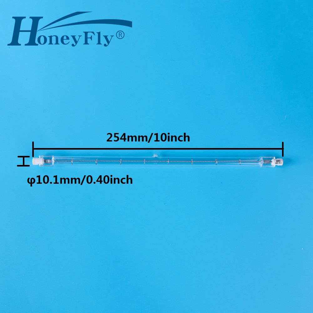 HoneyFly 200pcs Linear 254mm Halogen Lamp Bulbs J254 R7S 220V 1000W 1500W Double Ended Filament Flood Lights Quartz Tube