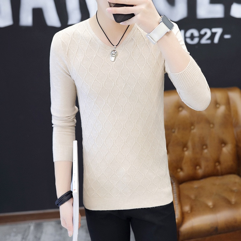 Clothes 2019 Classic Simplicity Pullover V-Neck Sweater Man Solid Long Sleeves regular Blown Teenagers mens Sweaters Polyester mens sweaters new classic simplicity pullover o neck sweater men long sleeves grey black teenagers sweaters