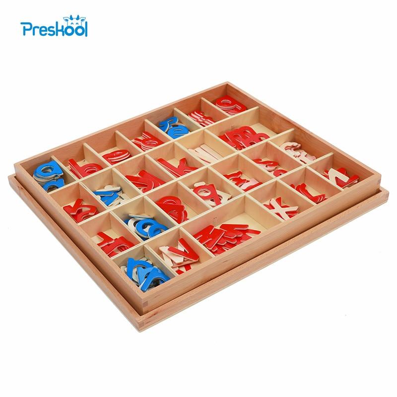Baby Spielzeug Montessori Holz Kleine Bewegliche Alphabet Rot & Blau mit Box Vorschule Früh Kind Brinquedos Juguetes