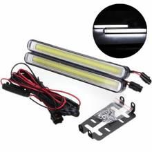 Lampe routière pour voiture universelle   2 pièces, étanche 12W 6000K-7500K COB phare diviseur DRL feu automatique, vente en gros