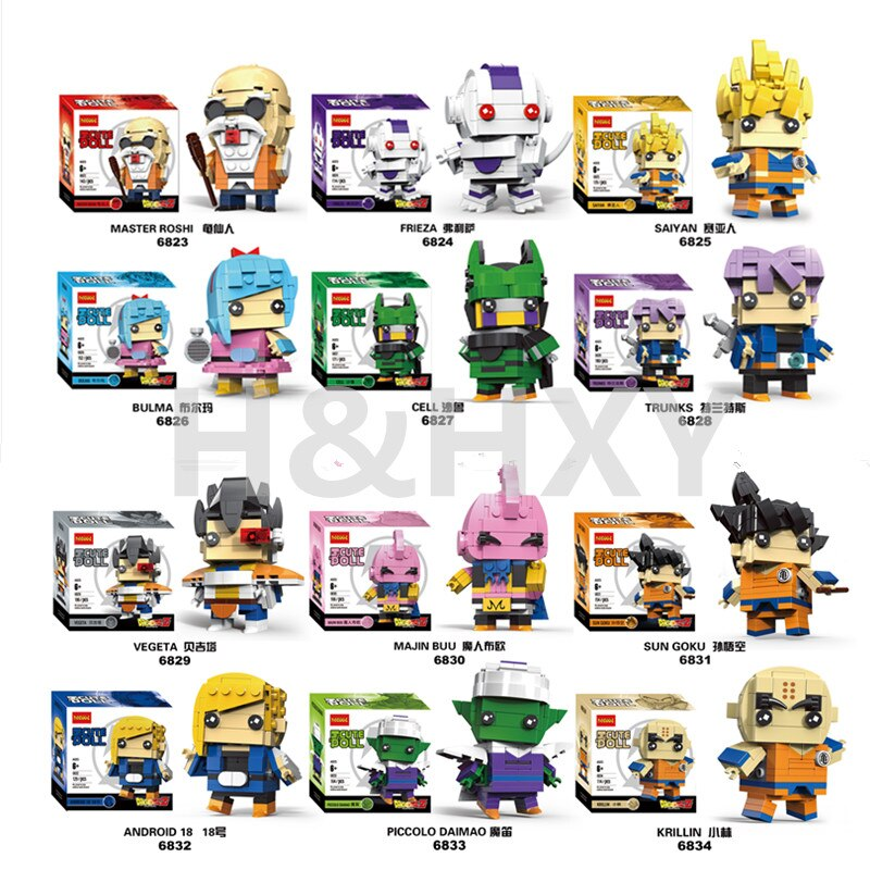 IN STOCK H&HXY CUTE DOLL 6823-6834 18002 The dragon ball mini bricks super heroes marvel avengers figures Decool Building Block