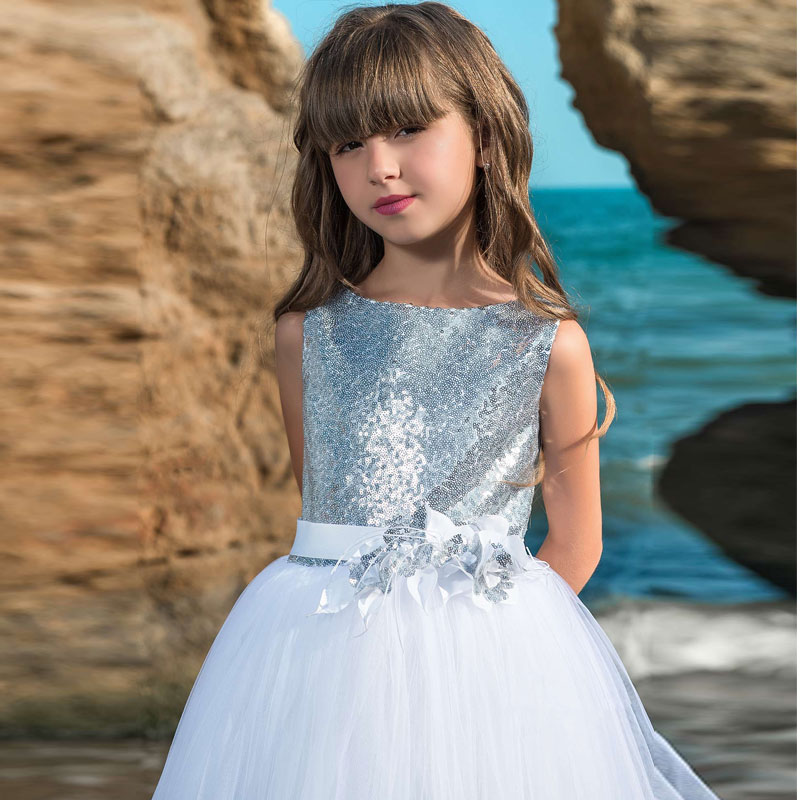 Fashion V Back Sparkling Silver Sequined Flower Girl Dress Sleeveless Fluffy Tulle Girls Pageant Ball Gowns Holy Communion Gowns enlarge