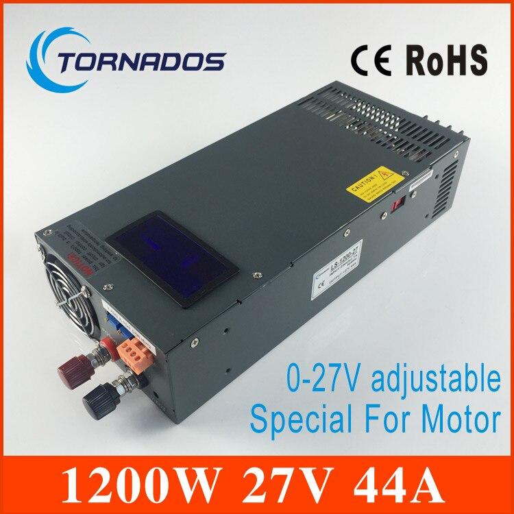 Fuente de alimentación conmutada de 1200W 0-27V motor de paso especial para pantalla Digital de alta potencia LS-1200-27 con voltaje y corriente