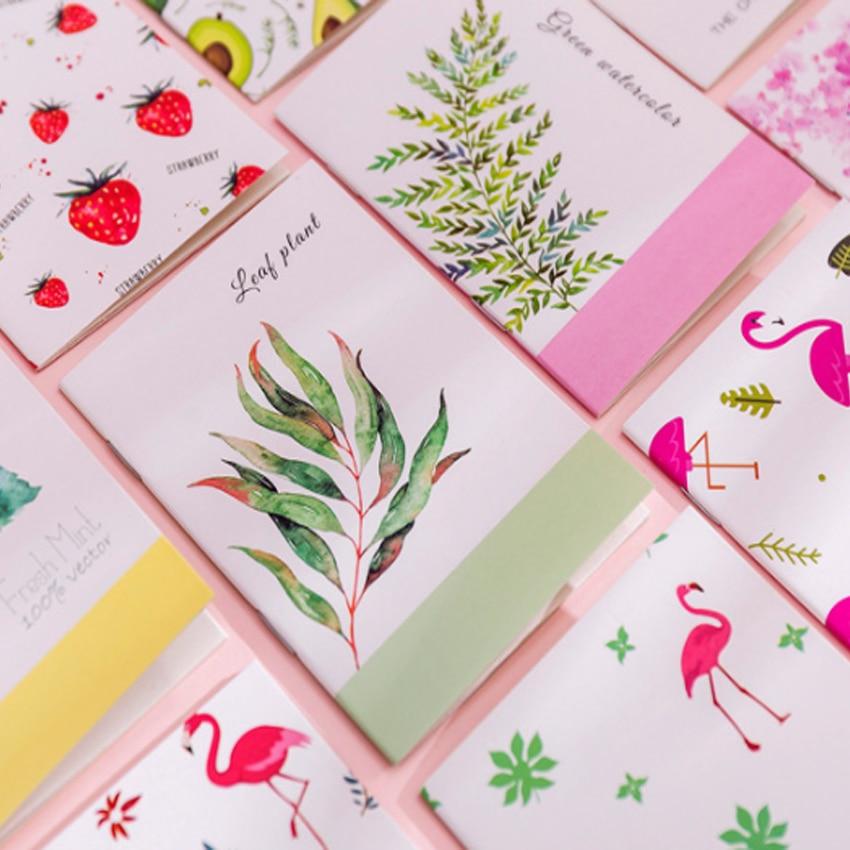 4pcs/lot Cute Flamingo Cactus Fruit cartoon Painting series Notebook Pocket Notepad Korea Stationery