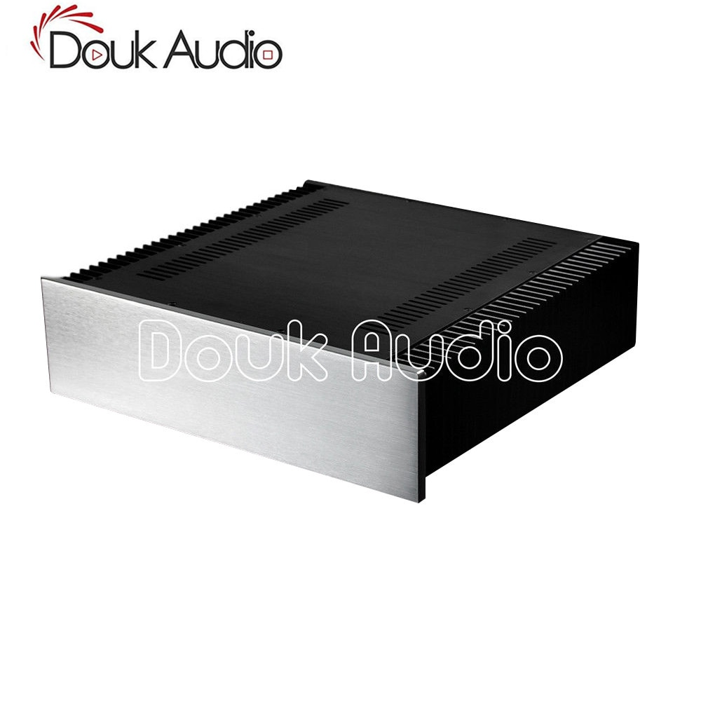 Douk Audio aluminiowa podstawka montażowa klasy A obudowa wzmacniacza mocy DIY przypadku W430 * H120 * D411 mm