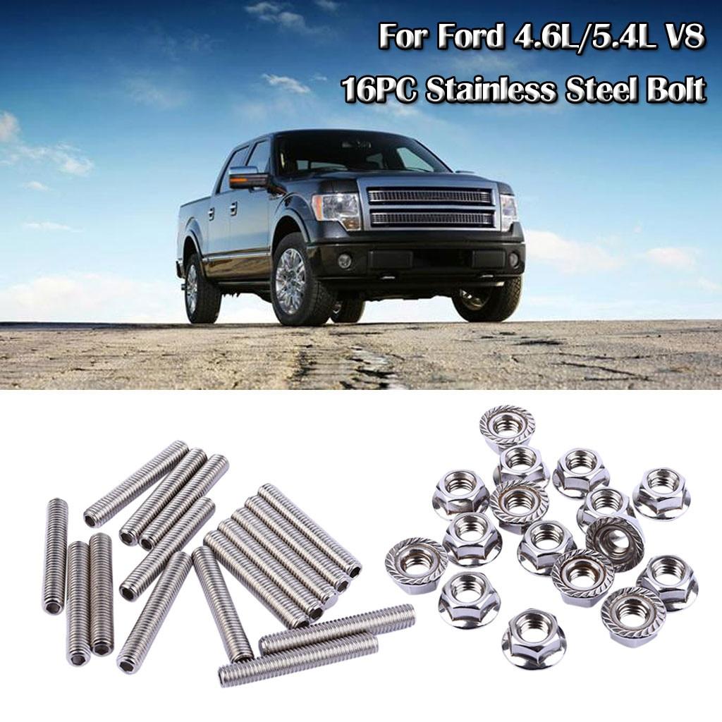 16 Uds 2019 pernos de acero inoxidable endurecido del colector de escape para Ford 4.6L/5.4L V8 de alta calidad