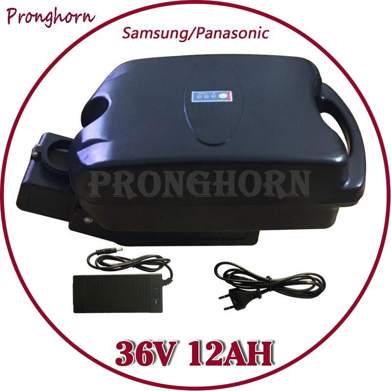 Batería de litio de 36V 500W para uso en Panasonic/Samsung, batería de litio de 36V 12Ah, batería de bicicleta eléctrica con cargador de 20 a BMS + 42V 2 a