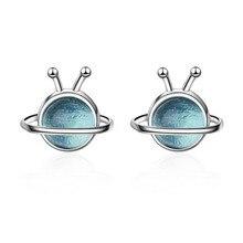 Design à la mode 925 en argent Sterling mignon bleu planète boucles doreilles pour enfants enfants filles femmes boucle doreille cadeau créatif bijoux