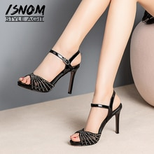 ISNOM Gladiator Studded Sandals Women 2019 Thin High Heels Sandals Cow Leather Shoes Female Wedding Rivet Platform Shoes Ladies