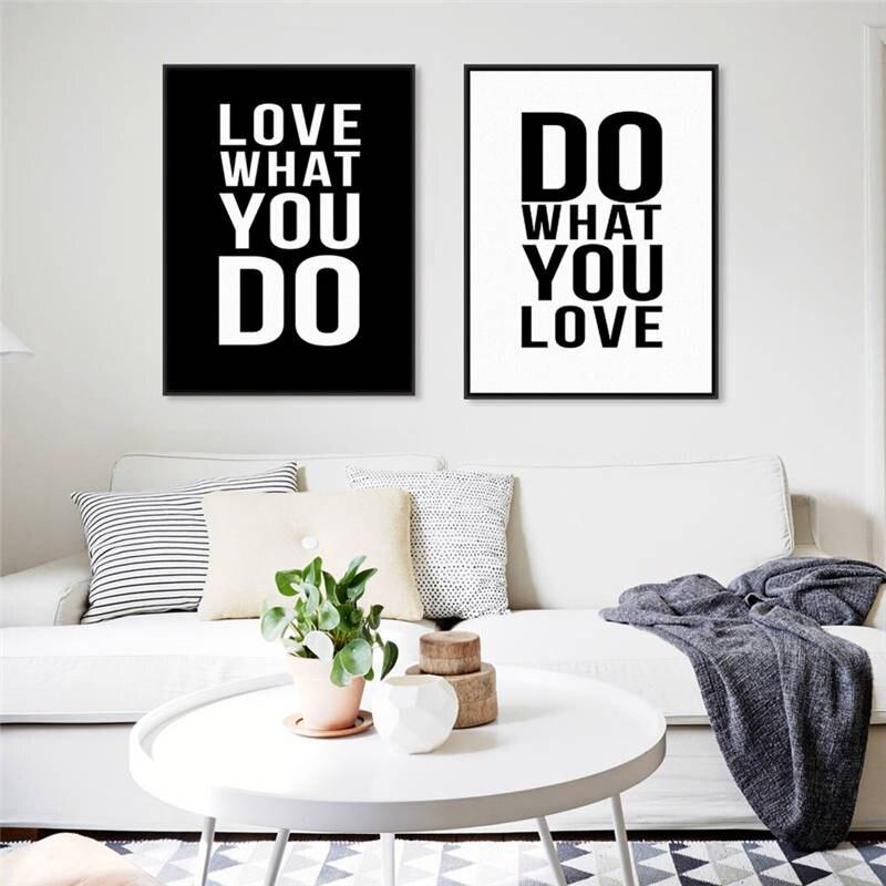 Preto e branco inglês inspirador lema pintura em tela cartaz da parede moderna nordic sala de estar empresa escritório decoração