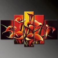 5pc modern wall art decor hand draw art oil painting red lily flowers painting no frame