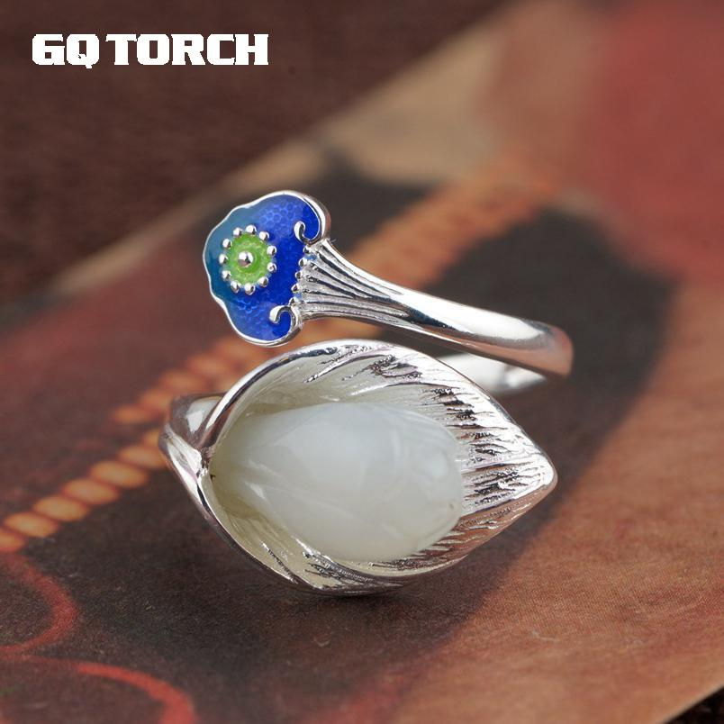 GQTORCH, anillo de Jade, Plata de Ley 925, flor de estilo Blueing antiguo, diseño Ruyi, un símbolo de buena suerte, Accesorios para Mujer