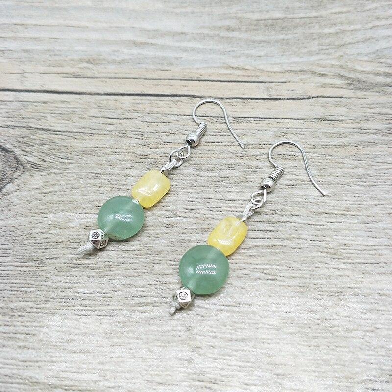 Novo Colorido brincos Oval contas feitas à mão de pedra natural brincos Bohemian jóias para mulheres presente da menina