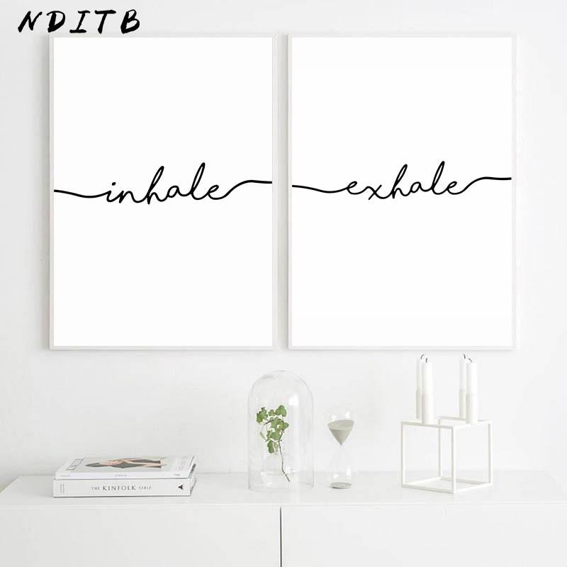 Inhale Exhale, cartel minimalista en blanco y negro, lienzo de arte para pared, lienzo de impresión, cuadro decorativo, pintura nórdica para decoración de habitación