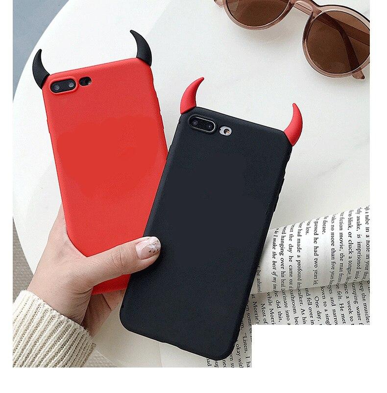 Funda de silicona blanda con cuernos de demonio y ángulo para Huawei P8 P9 P10 P20 P30 Pro Lite 2017 P Smart Plus 2019