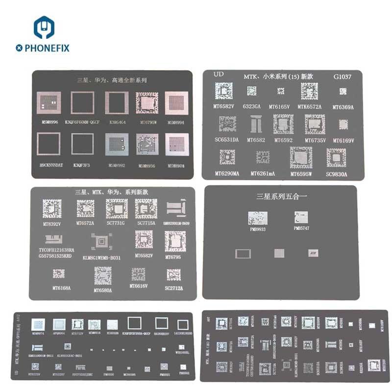 PHONEFIX BGA трафарет шаблон припоя для Samsung Galaxy Huawei Xiaomi MTK SPRO Oppo серия PCB BGA чип ремонт