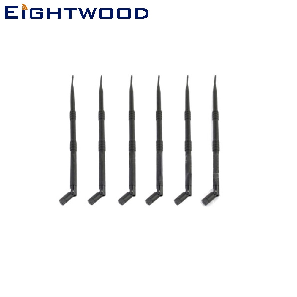 Eightwood 6PCS 2,4 GHz 9dBi Omni WiFi Antenne Antenne RP-SMA Stecker kompatibel mit F5D8235 Rincuv4 N300 N450 N600 Wireless router