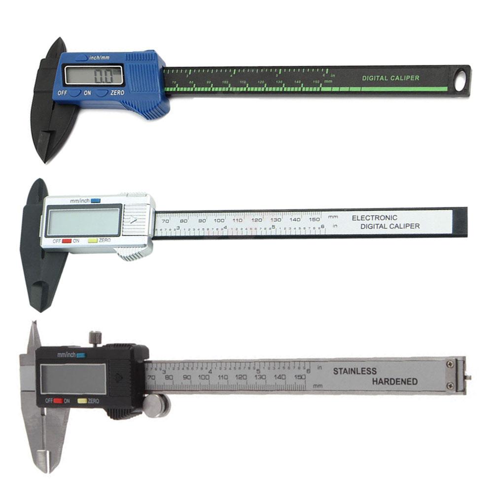 Portable LCD Digital Caliper Carbon Fiber Vernier Gauge 150mm 6inch Micrometer Measuring Tool Convenient Accessories