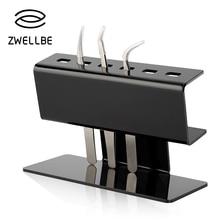 zwellbe 1Set Tweezers Storage Holder For Eyelash Extension Acrylic Tweezers Pen Rack Display Stand Grafting Eyelash Makeup Tool