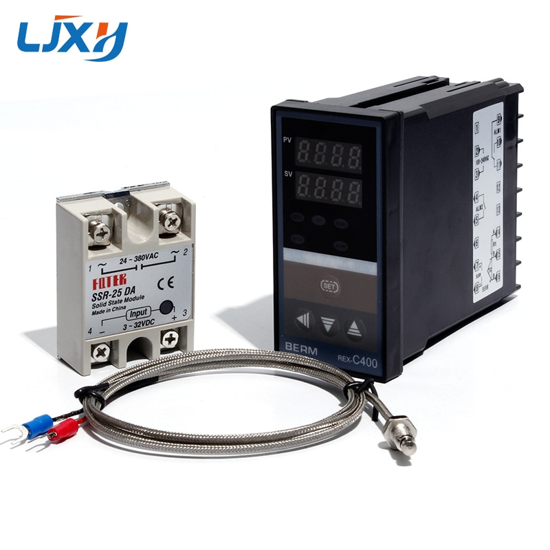 LJXH Dual Digital PID Temperature Controller Set REX-C400 + 25DA/40DA/75DA Solid State Relay + 1m M6 Thread K Thermocouple