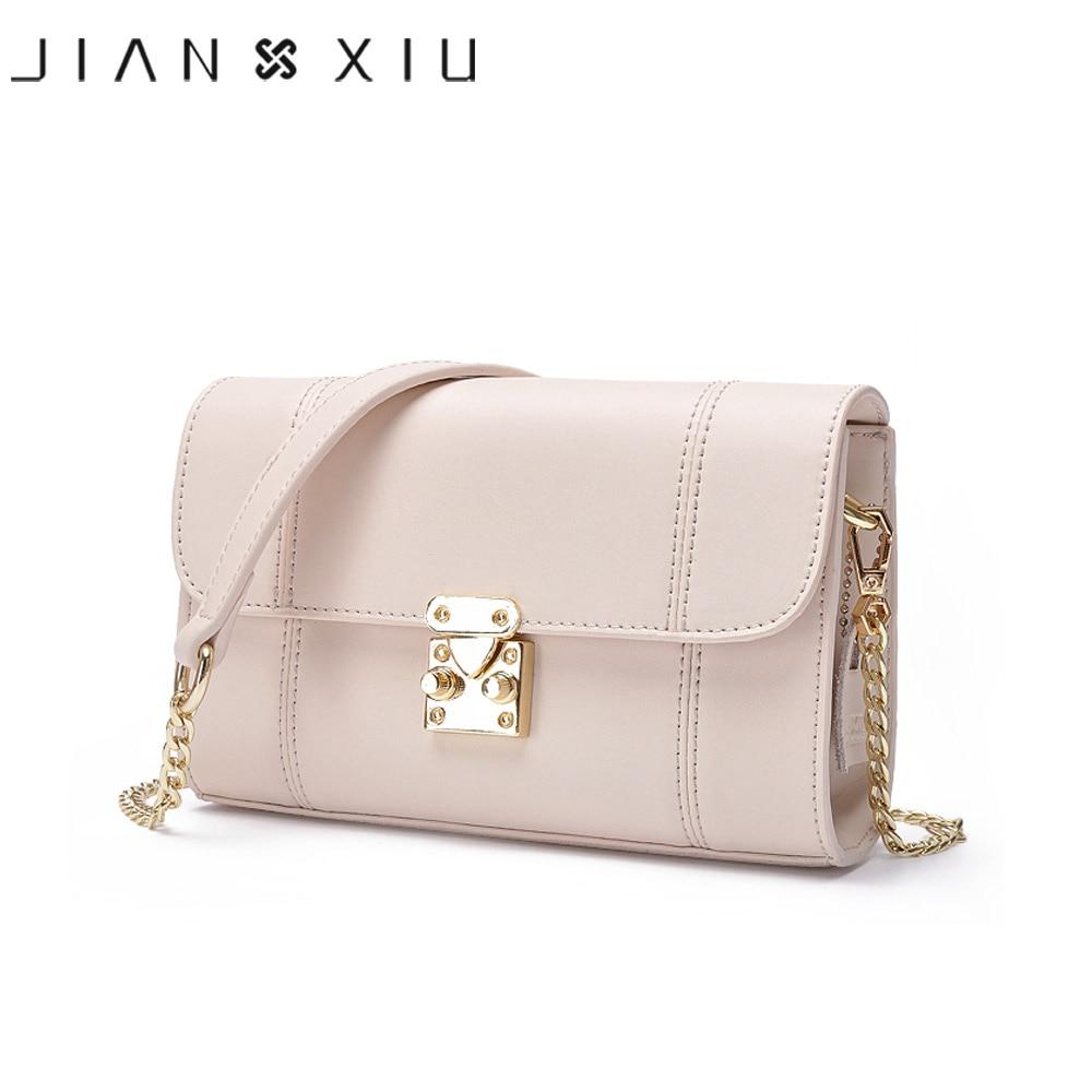 JIANXIU-حقيبة كتف نسائية من الجلد المنقسمة ، حقيبة كتف صغيرة بسلسلة ، لون عادي ، عصرية ، 2018
