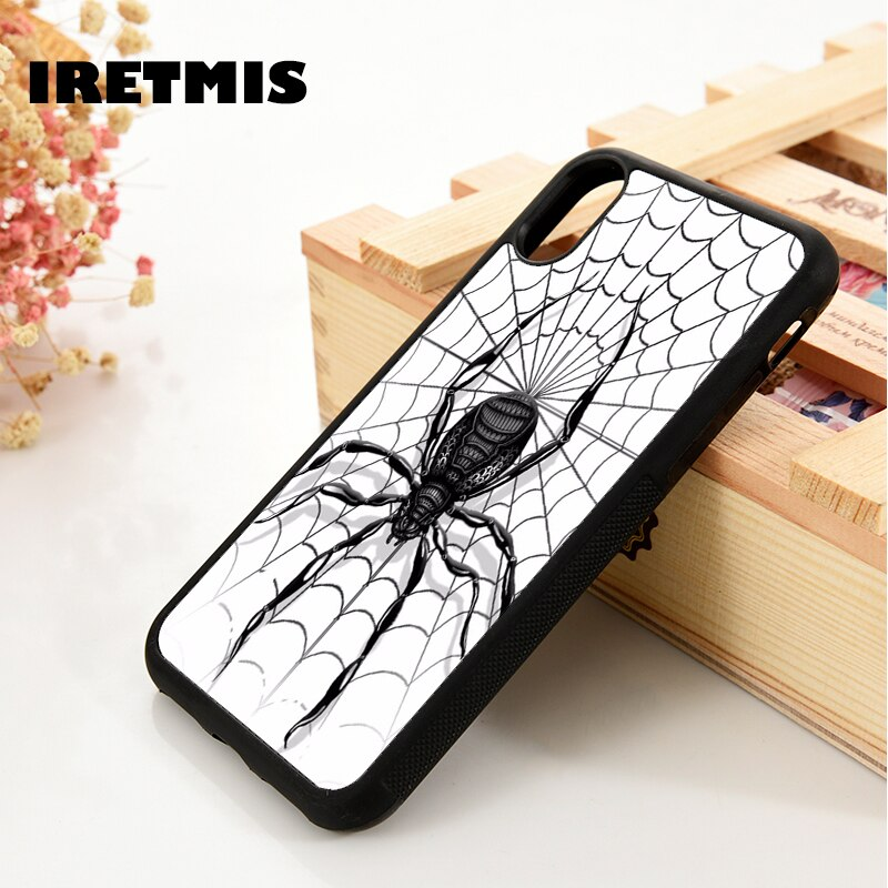 Iretmis 5 5S se 6 6s tpu silicone caso de telefone capa para iphone 7 8 plus x xs 11 pro max xr aranha padrão preto viúva aranhas web