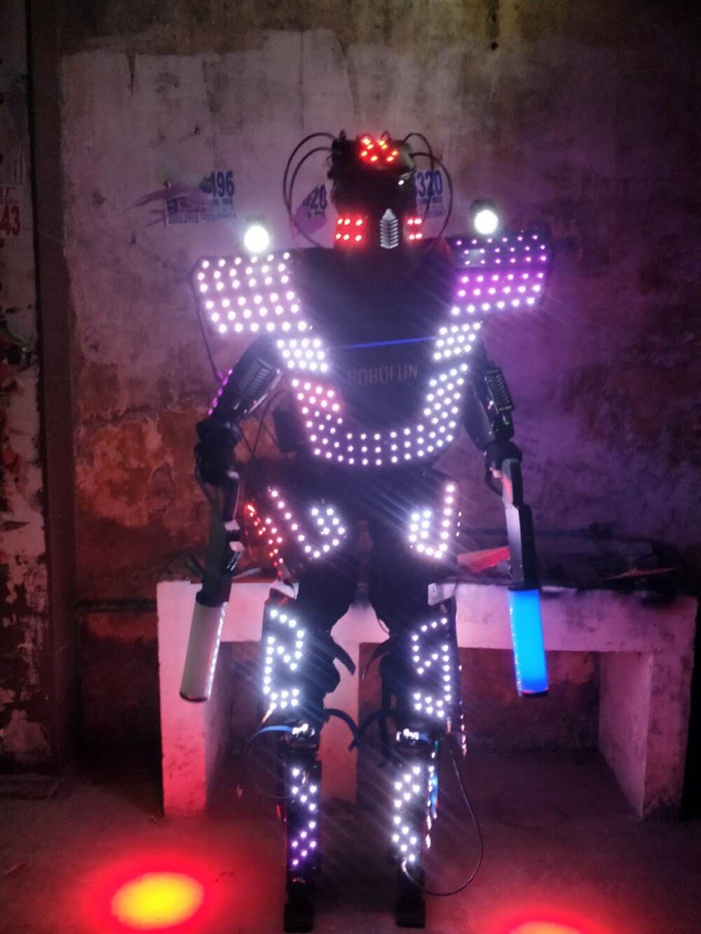 (Without Gun) LED robot suit colorful luminous glowing wears dancing costumes model show dress clothe dj bar performance
