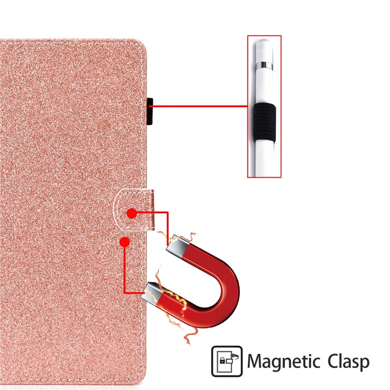 Купить с кэшбэком Wekays For Samsung Tab A T350 Glitter Bling Leather Fundas Case sFor Samsung Galaxy Tab A 8.0 T355 T350 T351 Tablet Cover Cases