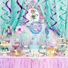 Mermaid Hanging Swirl Decoration Metallic Foil Ceiling Swirls Baby Shower Girl First Birthday Party Decorations 12PCS