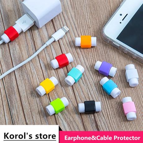 50 pçs/lote moda usb cabo fones de ouvido protetor colorido protetor de cabo para apple iphone 4 5 5S 6s plus para android htc huawei