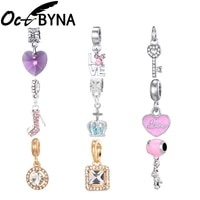 octbyna mixed antique silver color charm beads diy heart shaped pendant fits pandora bracelet for women jewelry making