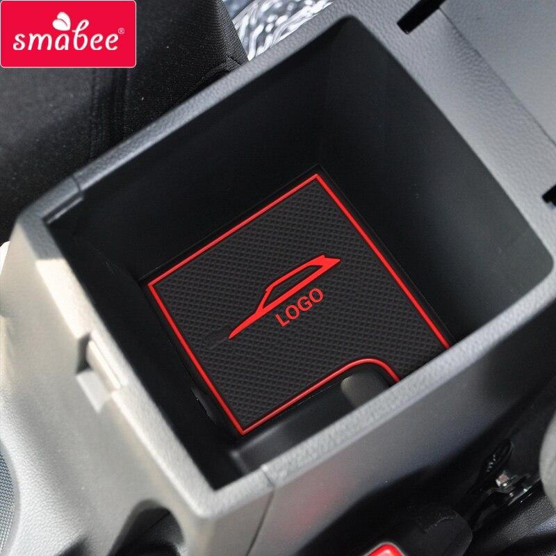 Sambee estera antideslizante de la ranura de la puerta para Hyundai Creta 2015 ~ 2019 ix25 accesorios interiores portavasos de goma esteras antideslizantes naranja