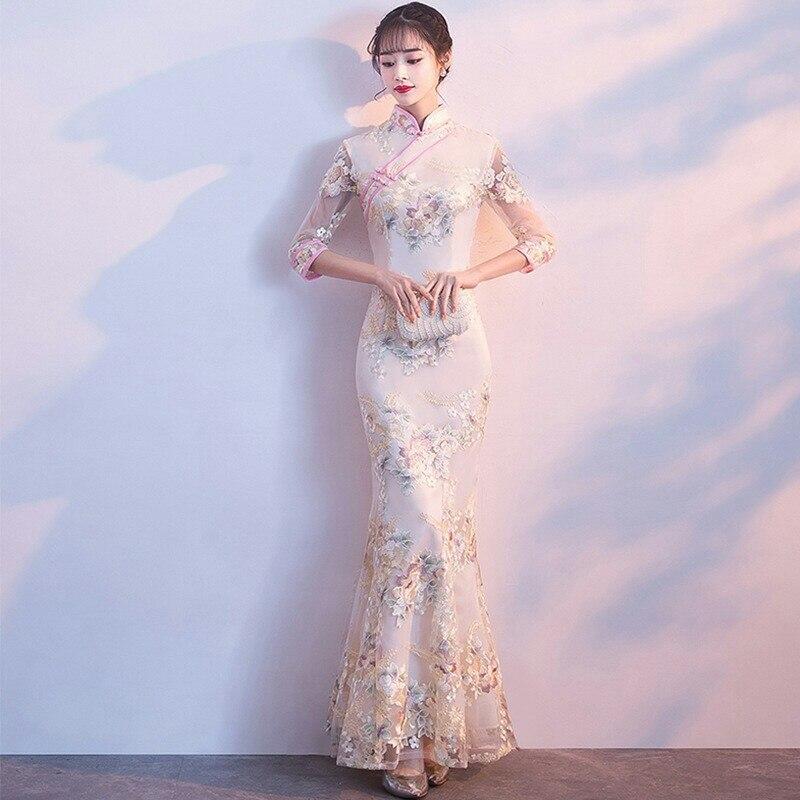 Fiesta de bodas Qipao Oriental Vestido de noche chino tradicional de las mujeres elegante Qipao Sexy Vestido largo Retro Vestido S, M, L, XL, XXL