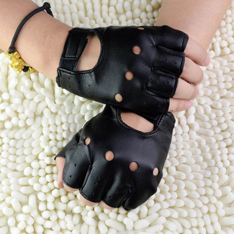Men Unisex Artificial Leather Half-Finger Gloves Theatrical Punk Hip-Hop Driving Motorcycle Performa