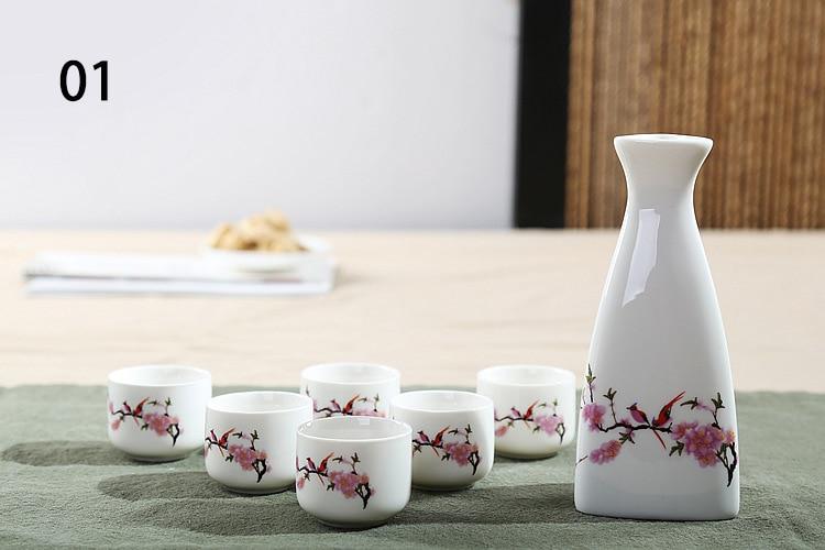 Novo conjunto de vinho de cerâmica copo de vinho taça de vinho casa jarro vidro branco suite, conjunto de saquê japonês, incluindo 1pcs jarro 1pcs copo de licor