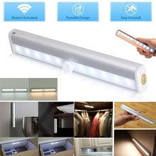Motion Sensor LED Night Light 10 LEDs Anywhere Wireless LED Closet Light 4* AAA Battery Table Lamp Cabinet Bookcase Night Light