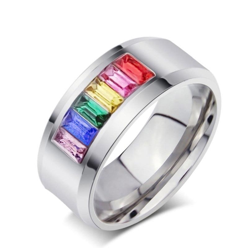 Anillo de piedras de estrás tamaño grande coloridos LGBT para mujer, 316L, de acero inoxidable, joyería de arcoíris para mujer, bandas de compromiso para boda