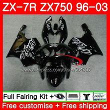 Body For KAWASAKI NINJA ZX Glossy black 750 ZX-7R 00 01 02 03 3SH2 ZX7R ZX-750 7 R ZX750 ZX 7R 2000 2001 2002 2003 Fairing kit