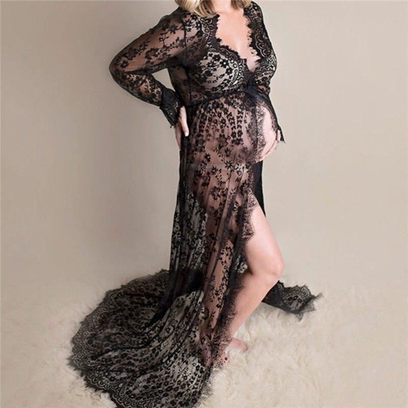 Verano embarazada Top vestido de mujer con abertura frontal largo Maxi maternidad negro blanco Top vestido de fotografía Prop ver a través del vestido