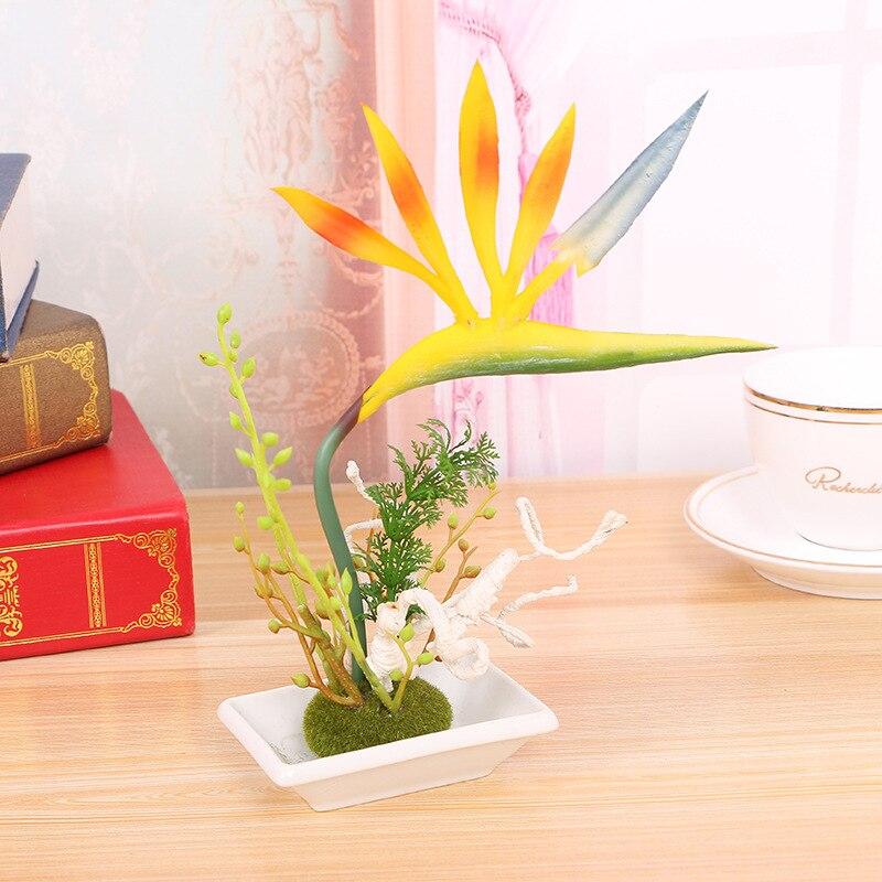 Bonsai Artificial de alta calidad PU strelittia reginae flores artificiales Oficina decoración del hogar bandagon boda decoración conjunto