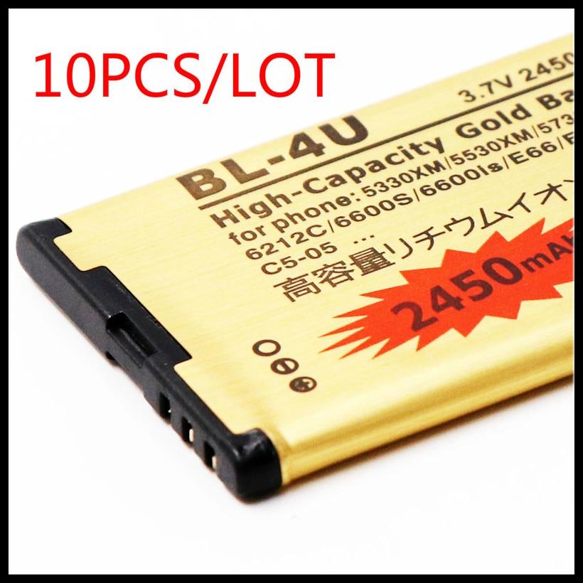 10 PÇS/LOTE Golden BL4U BL-4U bateria bateria Bateria do telefone Para Nokia 301 500 5250 5330 5530 5730 6600 BATERIA E66 C5-03 4U