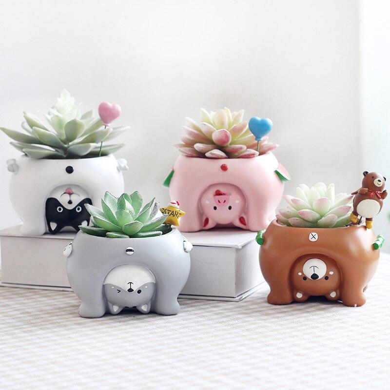4 unids/set nueva cabeza Animal resina plantadores suculentas Kawaii flor Mini escritorio con macetas Bonsai casa jardín decoración R988