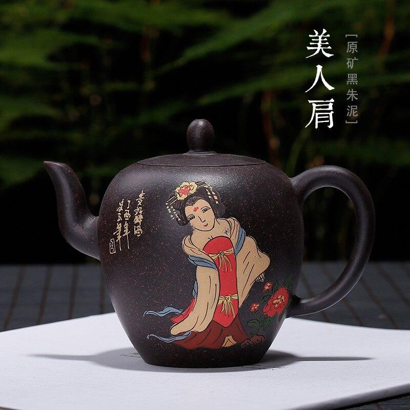 الأميرة الجمال الكتف كله اليد الطين اللوحة الوطنية اللون تيانسانغ إبريق الشاي بالجملة مخصص واحد بديل