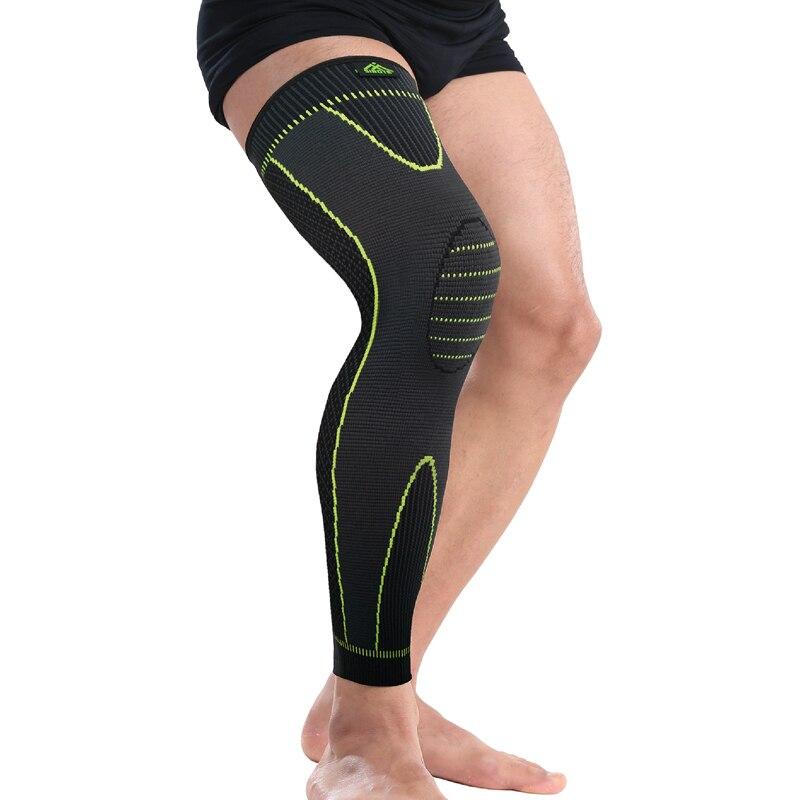 Nuevo estilo, sencillo, elástico, Serie de seguridad deportiva, Banda Verde, calentador de piernas, protección de rodilla, manga ST2566