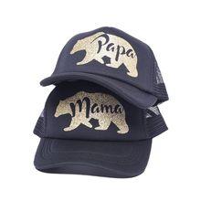 Bonnet de camionneur en maille respirable   Unisexe, pour Couples PAPA MAMA, chapeau en poudre scintillante, protection solaire de voyage réglable, casquette de Baseball en plein air