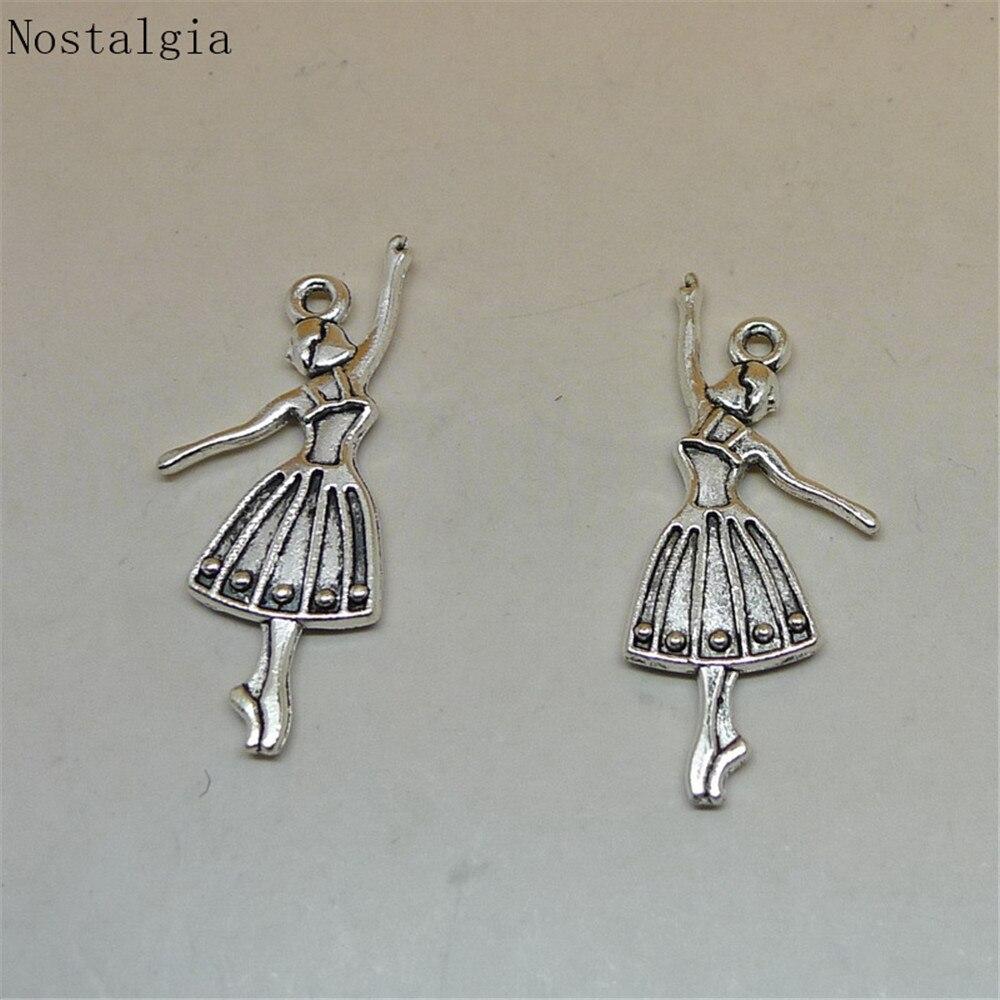 Nostalgia 10Pcs Ballerina Charm Ballet Dancer Girl Elegant Pendant Diy Bracelet Necklace Making 33*12MM