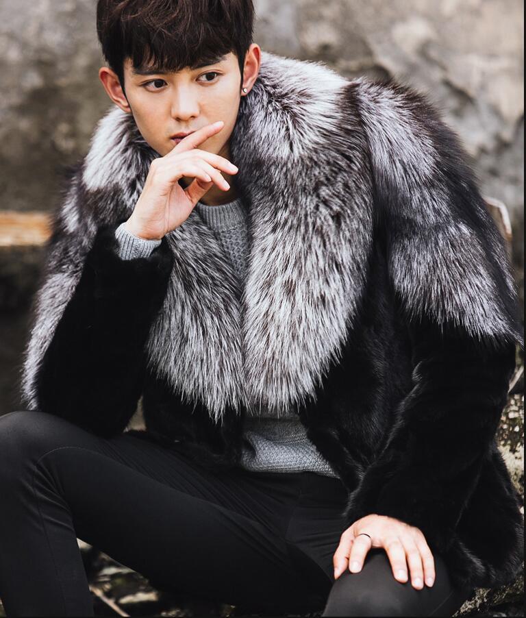 High quality Men's Fur Coat Fox fur collar Men Mink Fur coat Genuine leather mink fur Jacket A limited edition Plus Size M-4XL