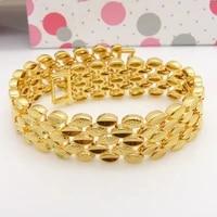 solid yellow gold filled wide bracelet wrist chain for women men
